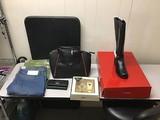 Purse, wallet, perfume set, boots size 8 Clothes