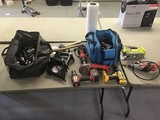 Tools, drills, saw, heat gun, flashlight