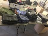 Backpack, luggage, megaphone