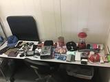 Hats, wallets, power bank, sunglasses, headphones