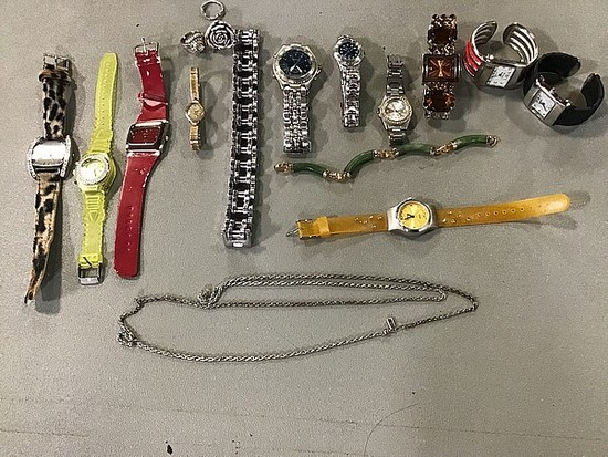 Assorted jewelry, watches