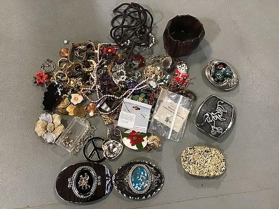 Assorted jewelry, belt buckles