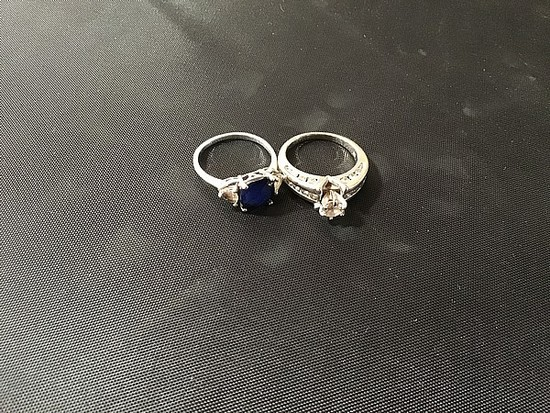 Silver colored clear stone wedding ring, blue/clear stone ring
