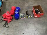 Box of skydiving helmets, box of walkie-talkies with 5 chargers