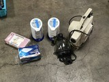 Two pill crusher machines, gas mask, Insect bug fogger, face masks, vinyl gloves