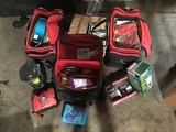 Three duffle bags with first aid equipment Lanterns, radio ex
