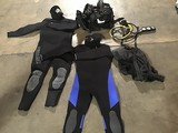 Scuba gear (buoyancy control vest, wet suit, first and second stage breat