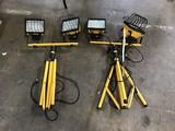 Two yellow work lights