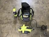 Green Ryobi 18v drill, green Ryobi planer tool in Ryobi tool bag