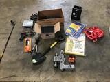 Car CD player, solder iron, folding pruning saw, tripod flashlight, Bag and box of 50 sprinkler pipe