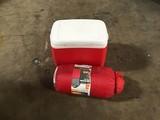 Igloo red cooler, Ozark Trail sleeping bag