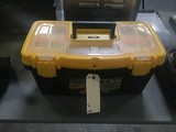 Black and yellow tool box with assorted tools
