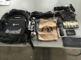 Backpack , bags , water container , flashlight Umbrella, cane