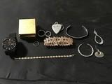 Three rings, black watch, three bracelets, 3 individual earrings