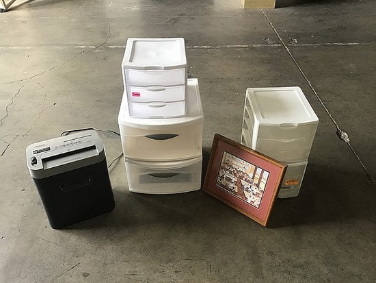 Sterlite 3 drawer organizer boxes, paper shredder, picture frame