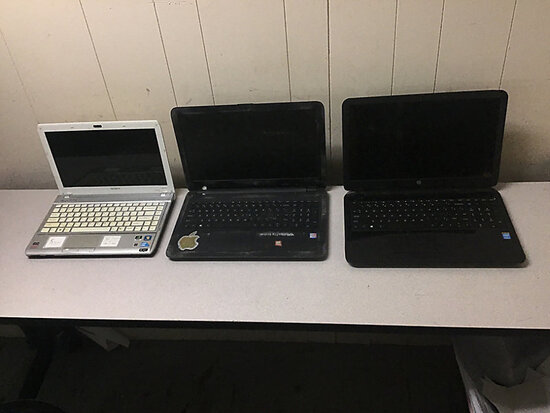 Laptop computers Used, possibly locked, no chargers, some damage