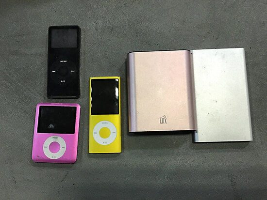 (2) Portable Phone Chargers & (3) iPods (Used) NOTE: This unit is being sold AS IS/WHERE IS via Time