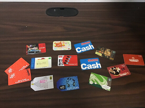 Assorted Gift Cards (Used / unknown remaining balance ) NOTE: This unit is being sold AS IS/WHERE IS