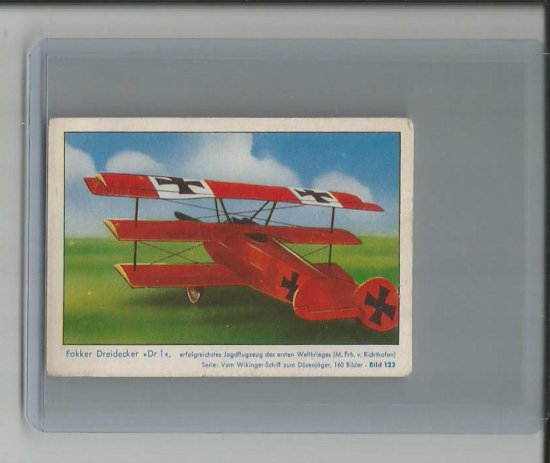 RED BARON AIRPLANE 1930'S/40'S GERMAN CIGARETTE TOBACCO ROOKIE CARD