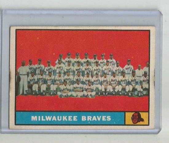 MILWAUKEE BRAVES 1961 TOPPS #463 TEAM CARD