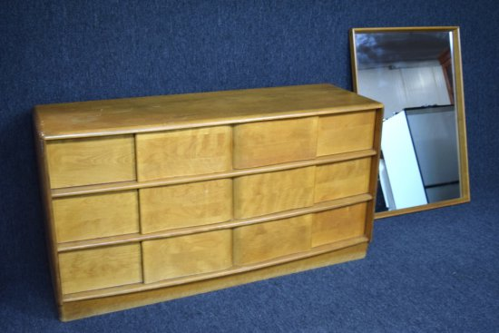 Mid Century 6 Drawer Dresser With Wall Mirror