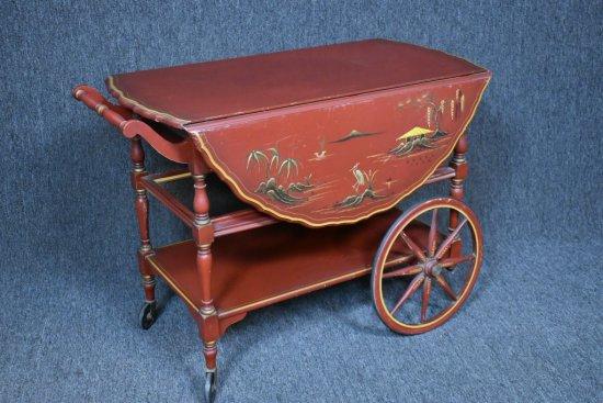 Vintage Hand Painted Tea Cart