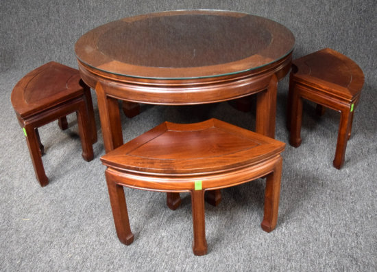 Oriental Carved Rosewood Table With 4 Stools