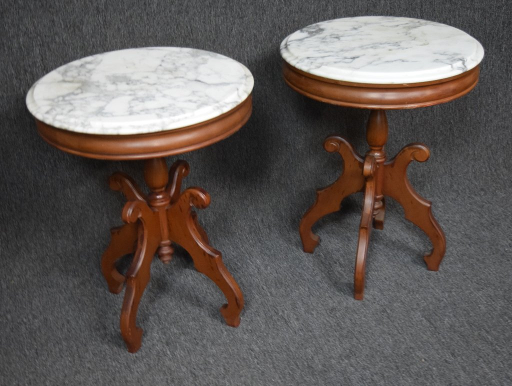2 Antique Marble Top Tables