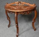 Hand Carved Half Moon Side Table
