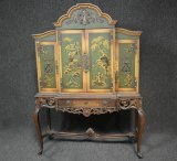 Vintage Hand Painted Oriental Style Hutch