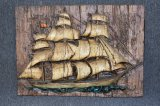 Vintage Three Dimensional Ship Wall Hanging