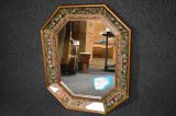 Vintage Hand Painted Concave Octagon Mirror