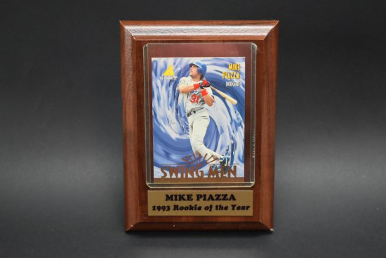Mike Piazza Swing Man Baseball Card Plaque Art Antiques