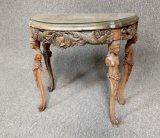 Antique Hand Carved Glass Top Side Table