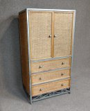 Decorative Steel And Rattan Media Cabinet