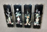 4 Oriental Black Lacquer Wall Hanging's