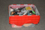 Plastic Tote Full of Electric Trains And Track