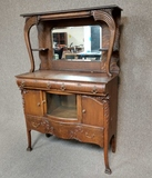 Antique Buffet Server With Mirrored Hutch