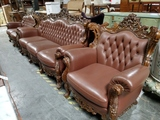3pc Hand Carved Leather Living Room Set