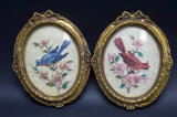 2 Framed Needlepoint Wall Hangings