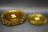 7 Amber Depression Glass Madrid Dinner Plates