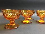 5 Amber Glass Dessert Cups