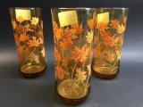 3 Vintage Amber Glass Tumblers