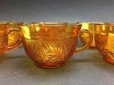 10 Amber Glass Tea Cups
