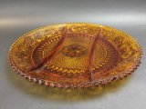 Amber Depression Glass Serving Tray