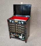 Hand Painted Black Lacquer Jewelry Box