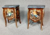 2 Marble Top French Provincial Night Stands