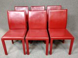 6 Modern Red Leather Chairs