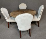 Modern Rustic Wood Table With 4 Upholstered Chairs