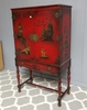 Hand Painted Asian Armoire / Hutch